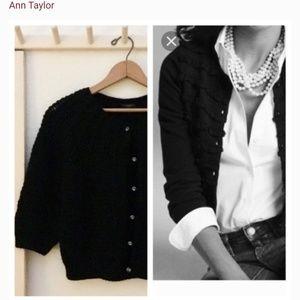 Ann Taylor black cardigan Merino wool size medium